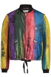 saint laurent Silk Bomber Jacket at Stylebop