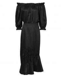 saloni Feather-Detailed Off Shoulder Dress at Intermix