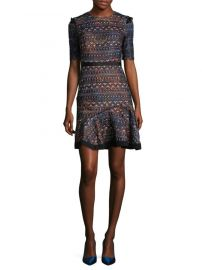 saloni ruffle fit and flare dress at Saks Off 5th