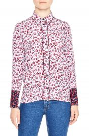 sandro Floral Print Silk Shirt at Nordstrom