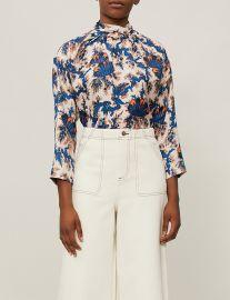 sandro High-neck printed silk blouse at Selfridges