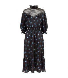 sandro Lace Panel Floral Midi Dress at Harrods