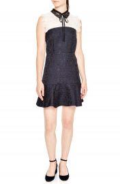 sandro Lace Yoke Jacquard A-Line Dress at Nordstrom