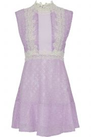 sandro Peaches pintucked crepe-paneled cotton-blend corded lace mini dress at The Outnet