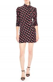 sandro Ruched Sleeve Tattoo Print Dress at Nordstrom