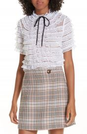 sandro Ruffle Lace Silk Blouse at Nordstrom