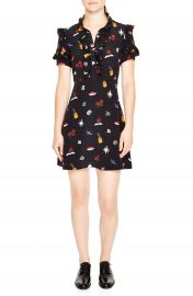 sandro Ruffle Trim Tattoo Print Silk Dress at Nordstrom