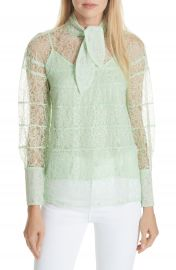 sandro Tie Neck Lace Blouse at Nordstrom