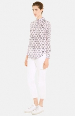 sandro and39Chatand39 Cat Print Silk Shirt at Nordstrom