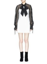 self-portrait   Monochrome scarf neck lace cady mini dress   Lane Crawford - Shop Designer Brands Online at Lane Crawford