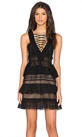 self-portrait Lace Up Tiered Dress in Black from Revolve com at Revolve
