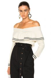 self portrait striped off shoulder sweater at Forward
