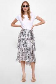 sequin ruffled skirt at Zara