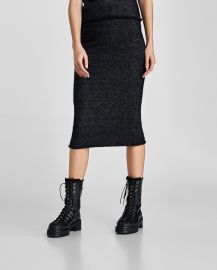 shimmery midi skirt at Zara