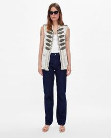 shiny waistcoat with embroidered beads at Zara