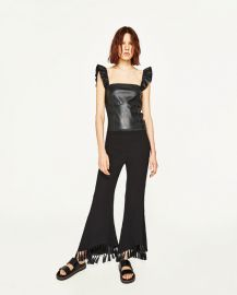 short leather-effect top at Zara