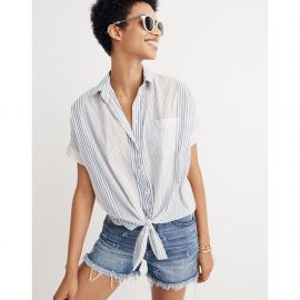 short-sleeve tie-front shirt in rawley stripe at Madewell