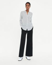 silk polka dot blouse at Zara