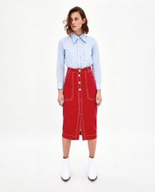 skirt with contrasting topstitching at Zara