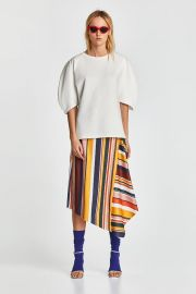 skirt with multicolored stripes at Zara