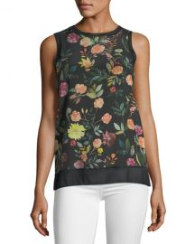 Theory Lewie Floral Print Silk Tank  at Neiman Marcus