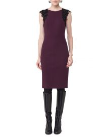 Lace-Trim Cap-Sleeve Dress at Neiman Marcus