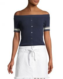 Frame off shoulder button down sweater at Neiman Marcus