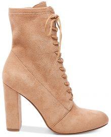 steve madden Elley Lace-Up Block-Heel Booties at Macys