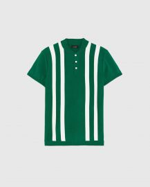 striped polo shirt with bomber-style collar at Zara