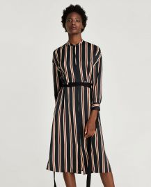 striped tunic with belt x at Zara