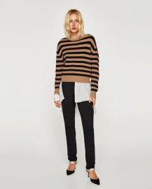 striped sweater with round neckline at Zara