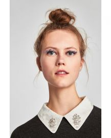 sweater with removable bejewelled collar at Zara