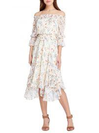 tahari asl Off-the-Shoulder Floral Ruffle Dress at Lord & Taylor