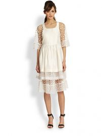 tba to be adored - Silk Pinafore Sheer Polka-Dot Underlay Dress at Saks Fifth Avenue