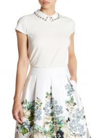 ted baker Tillda Embellished Cap Sleeve Top at Nordstrom Rack