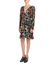 the kooples Rose Burnout Velvet Wrap Dress at Bloomingdales