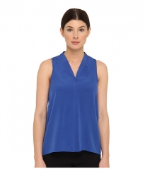 tibi Heavy Silk CDC Sleeveless Zip Up Tank Sapphire at 6pm