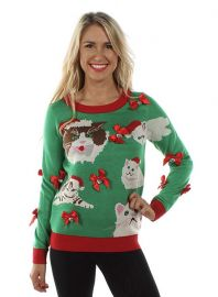 tipsy elves Crazy Cat Lady Sweater - Funny Cat Ugly Christmas Sweater at Amazon