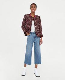 tweed jacket with striped detail at Zara