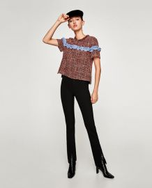 tweed top with contrasting ruffle at Zara