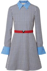 valentino BELTED POPLIN-TRIMMED PRINTED WOOL AND SILK-BLEND MINI DRESS at Net A Porter