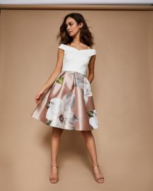 valtia Chatsworth jacquard off-shoulder dress at Ted Baker
