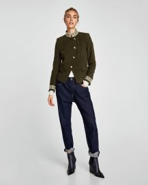 velvet jacket with passementerie at Zara