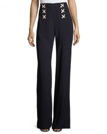 veronica beard Quinn Striped Lace-Up Wide-Leg Pants at Neiman Marcus