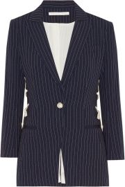 veronica beard Taylor lace-up pinstriped crepe blazer at Net A Porter
