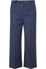 versace Cropped striped wool-twill wide-leg pants at Net A Porter