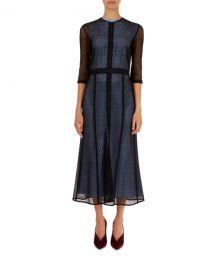 victoria beckham Elbow-Sleeve Lace Midi Dress at Bergdorf Goodman