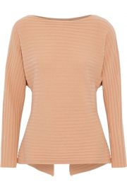 vince Cutout tie-back ribbed wool and cashmere-blend sweater  at The Outnet