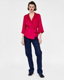 wrap blouse with bow at Zara
