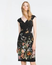 zara floral v neck dress at Zara